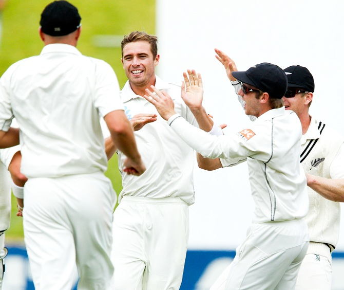 Tim Southee of New Zealand celebrates