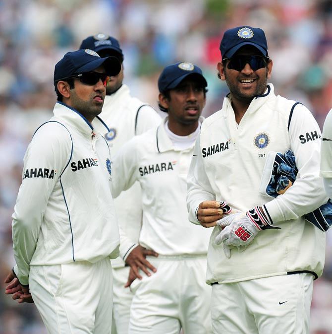(Left to right): Gautam Gambhir, Wriddhiman Saha and Mahendra Singh Dhoni