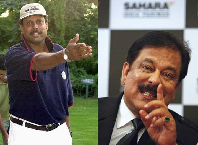 Kapil Dev, left, and Sahara Group Chairman Subrata Roy