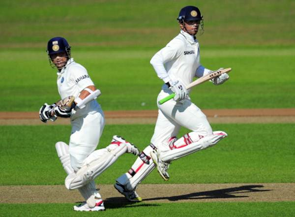 Sachin Tendulkar (left) and Rahul Dravid pick runs during Day 2 of the tour match between Somerset and India at the county ground on July 16, 2011 in Taunton, England
