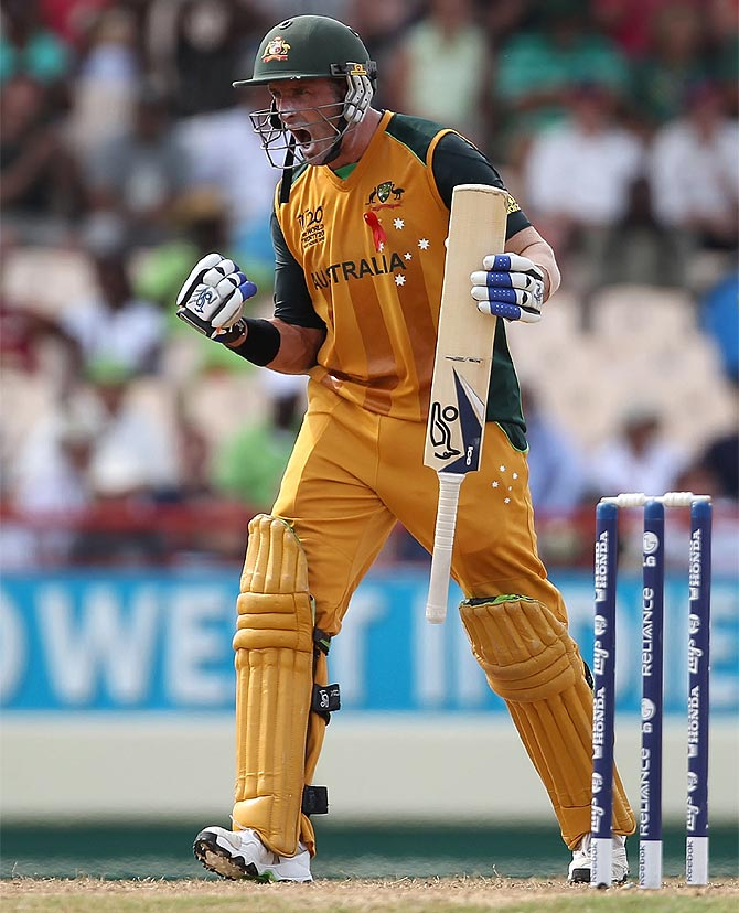 Michael Hussey of Australia celebrates the win against Pakistan at the Beausjour Cricket Ground