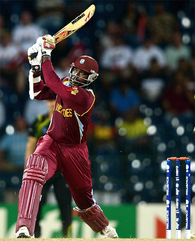 Chris Gayle of the West Indies hits out for six runs during the 2012 ICC World Twenty20 semi-final against Australia