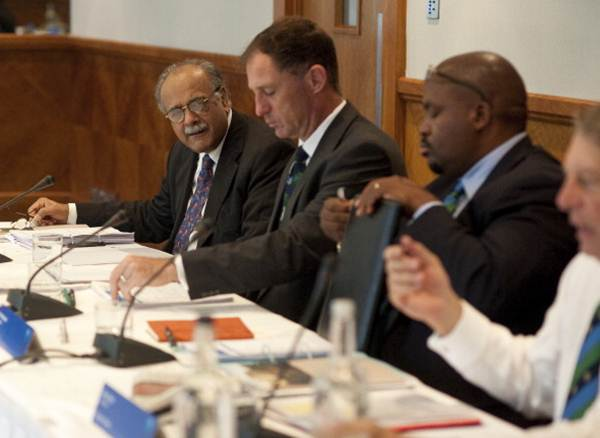 Pakistan's Najam Sethi (extreme left) during the ICC Board Meeting at The Royal Garden Hotel on October 18, 2013 in London, England