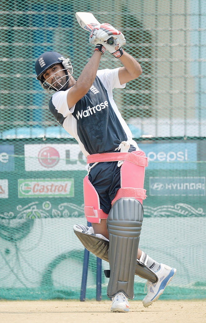 Ravi Bopara of England bats during a nets session at Zahur Ahmed Chowdhury Stadium in Chittagong, Bangladesh on Wednesday