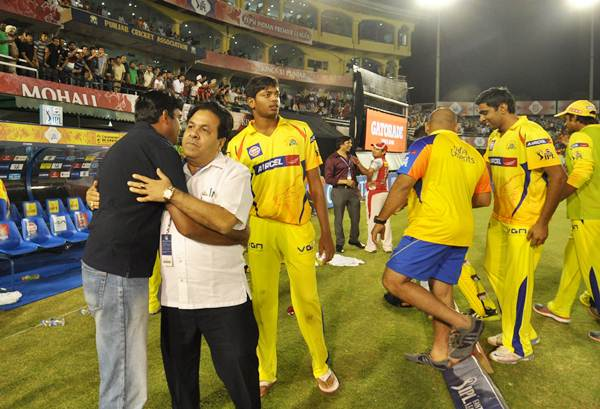 Gurunath Meiyappan with former IPL chairman Rajiv Shukla in the Chennai Super Kings dug out