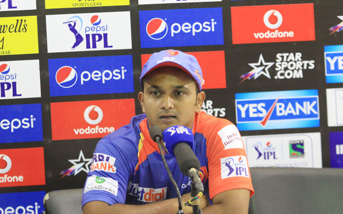 Kedar Jadhav of Delhi Daredevils during a press conference