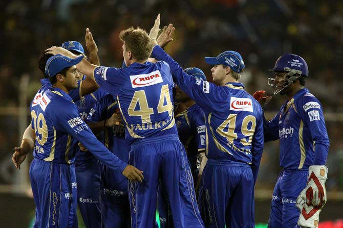 Rajasthan Royals players celebrate the wicket of Aaron Finch