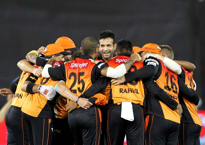 Sunrisers Hyderabad players celebrate victory