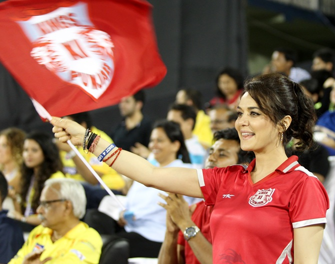 Preity Zinta in the stands