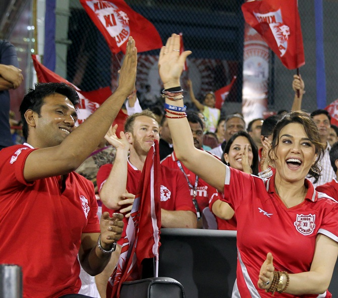 Preity Zinta celebrates with team officials