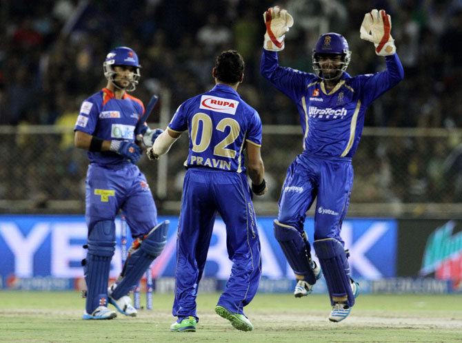 Pravin Tambe and Sanju Samson of Rajasthan Royals celebrate the wicket of JP Duminy of Delhi Daredevils