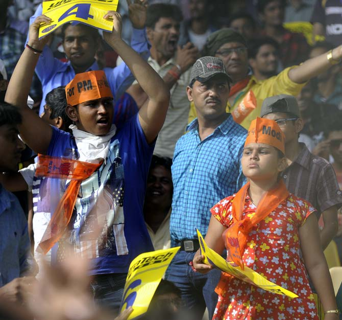 Fans show their support for Narendra Modi during the IPL match in Ahmedabad.