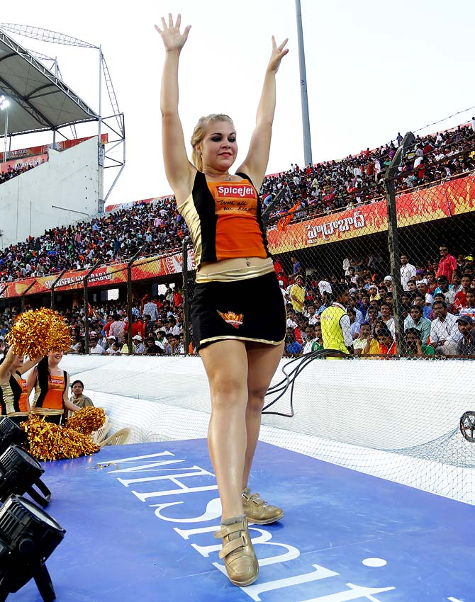A cheerleader of Sunrisers Hyderabad performs during the match.