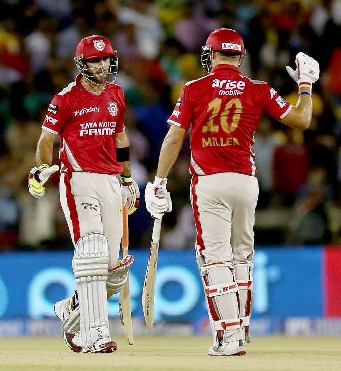Glenn Maxwell and David Miller of Kings XI Punjab