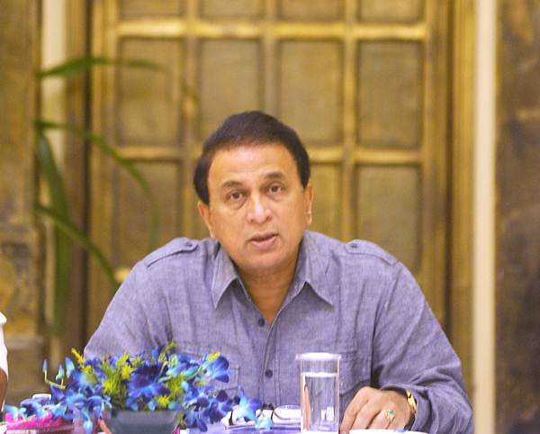 Sunil Gavaskar address the media in Kolkata on Thursday.