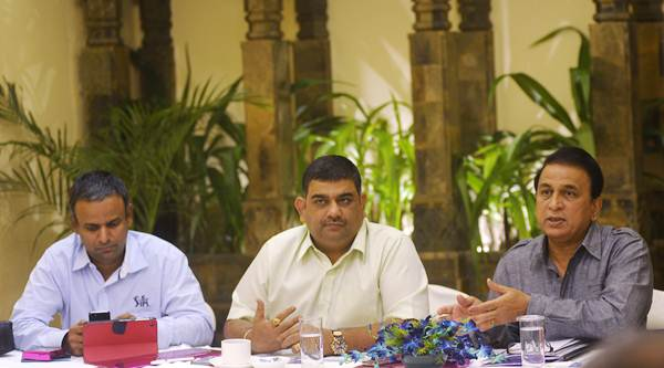 IPL COO Sundar Raman, chairman Ranjib Biswal and BCCI Interim President-IPL Sunil Gavaskar address the media in Kolkata on Thursday.
