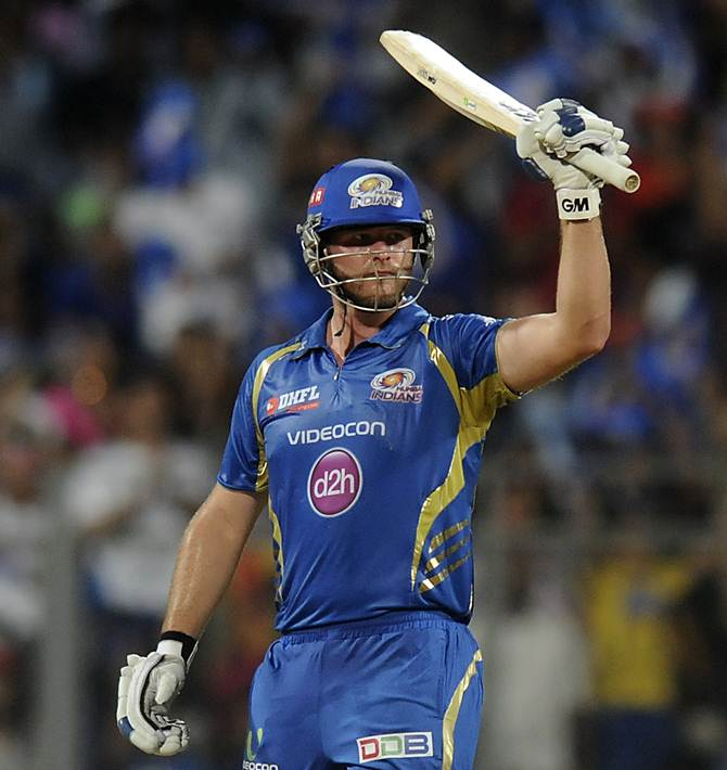 Corey Anderson acknowledges the cheers after hitting 95 for the Mumbai Indians against the Rajasthan Royals,  May 25, 2014. Photograph: BCCI