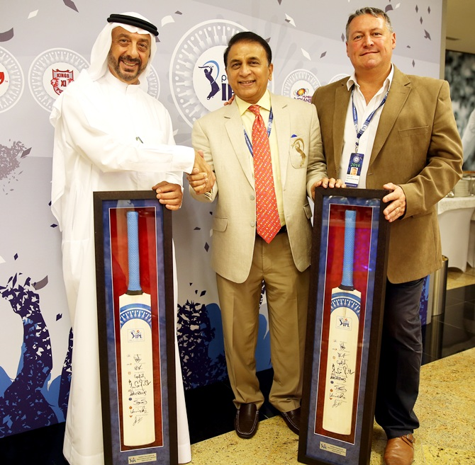 Omar AL Askari Director, Emirates Cricket board, Sunil Gavaskar interim President of BCCI and David East CEO at Emirates Cricket Board and Abu Dhabi Cricket Club