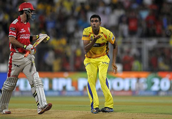 R Ashwin reacts after dismissing Glenn Maxwell