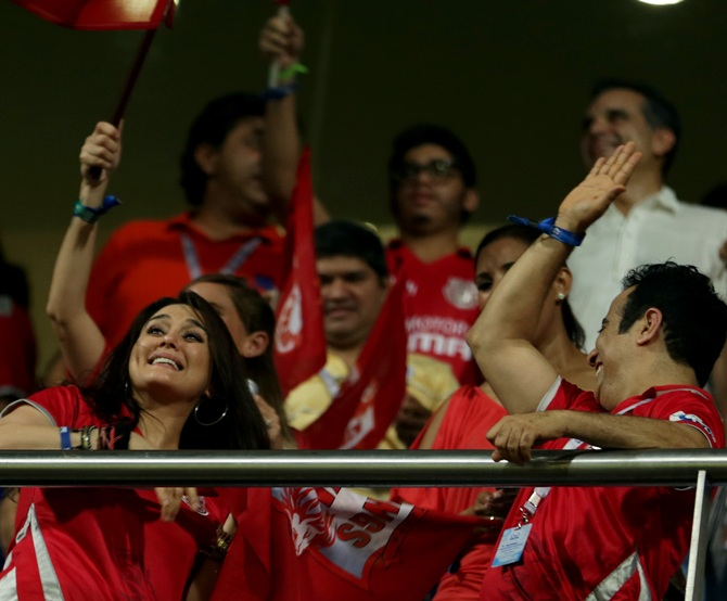 Preity Zinta with other Kings supporters.