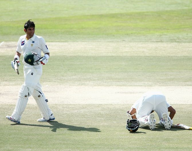Misbah-ul-Haq and Azhar Ali of Pakistan celebrate