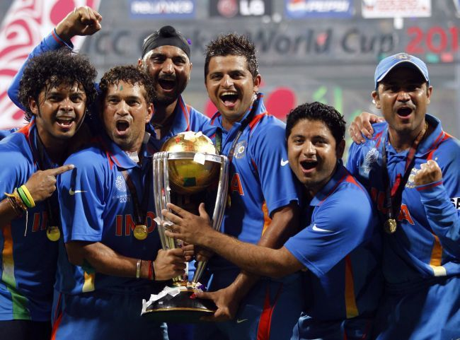 Sachin Tendulkar celebrates after winning the 2011 World Cup. Photograph: Adnan Abidi/Reuters