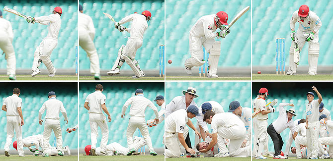 This sequence of images shows Phillip Hughes of South Australia as he is struck in the head by a delivery during Day 1 of the Sheffield Shield match between New South Wales and South Australia at Sydney Cricket Ground on Tuesday