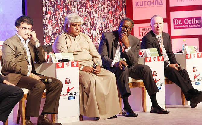 Sourav Ganguly, Arjuna Ranatunga, Clive Lloyd and Allan Border at the Aaj Tak conclave in New Delhi on Saturday