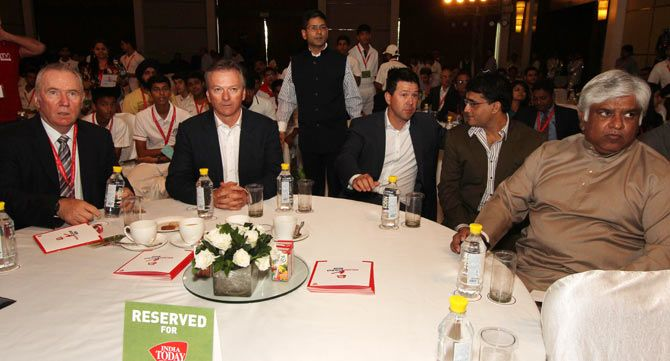 Allan Border, Steve Waugh, Ricky Ponting, Sourav Ganguly and Arjuna Ranatunga at the Aaj Tak Salaam Cricket conclave in New Delhi on Saturday