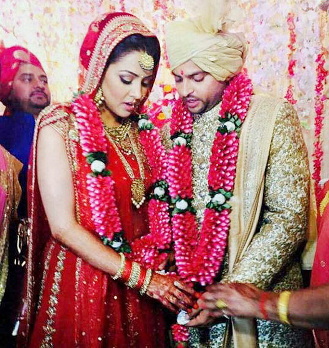 Suresh Raina with his wife Priyanka Chaudhary