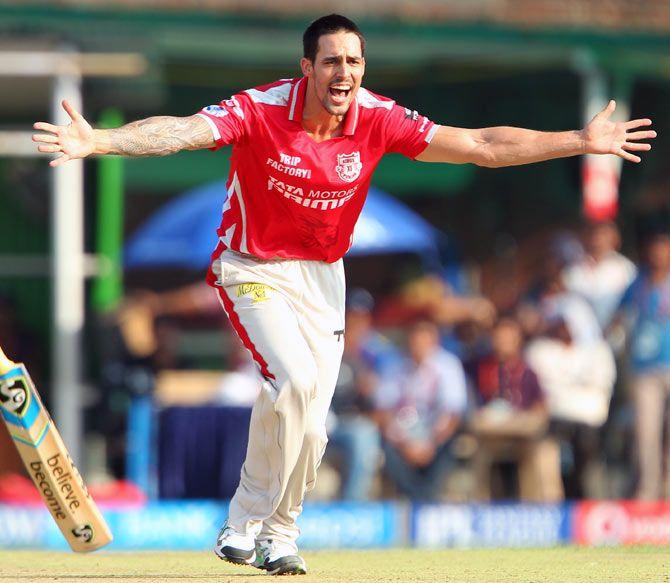 Mitchell Johnson playing for the Kings XI Punjab in IPL 7. Photograph: BCCI