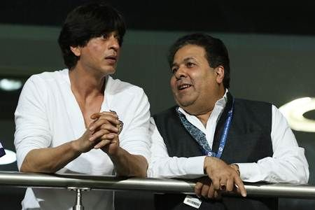 Kolkata Knight Riders owner Shah Rukh Khan and IPL Governing Council chairman Rajeev Shukla at the opening ceremony of the eighth edition of the tournament in Kolkata.