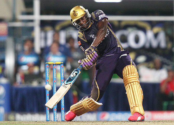 Andre Russell of the Kolkata Knight Riders pummels the ball to the boundary during their IPL match against the Royal Challengers Bangalore at Eden Gardens in Kolkata, on Saturday