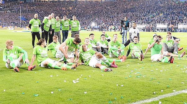 Wolfsburg players celebrate