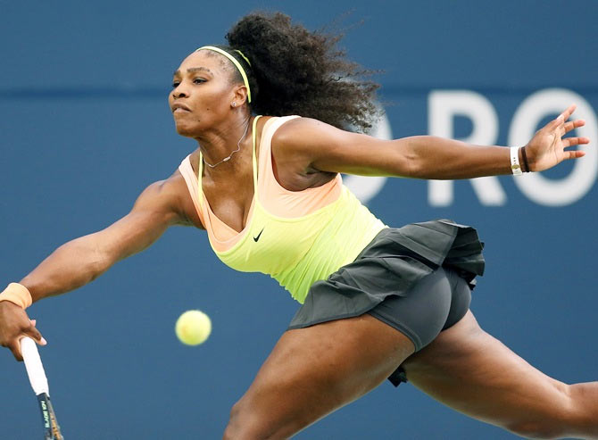 USA's Serena Williams plays a shot against Andrea Petkovic in their Rogers Cup match on Thursday, August 13
