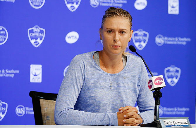 Russia's Maria Sharapova addresses a news conference after withdrawing from the Western & Southern Open at the Linder Family Tennis Center in Cincinnati on Tuesday