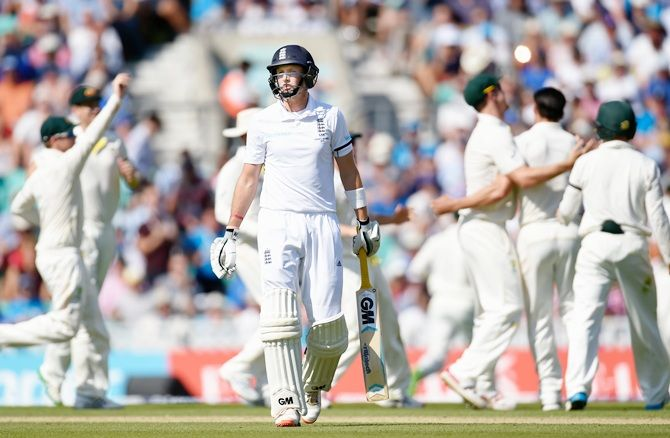 England's Joe Root walks off after being dismissed, caught Mitchell Starc off Mitchell Johnson's bowling. The final Ashes Test, Oval, August 22, 2015. Australia won by an innings and 46 runs, but lost the series 3-2.Photograph: Stu Forster/Getty Images