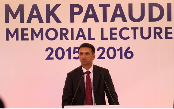 Rahul Dravid delivering Pataudi Memorial Lecture in New Delhi