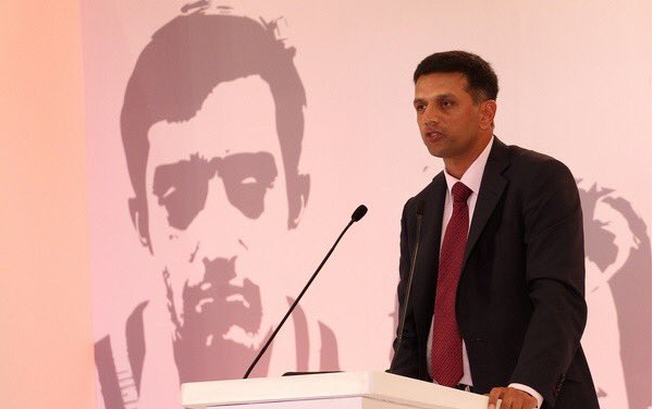 Rahul Dravid delivering the Pataudi Memorial Lecture in New Delhi