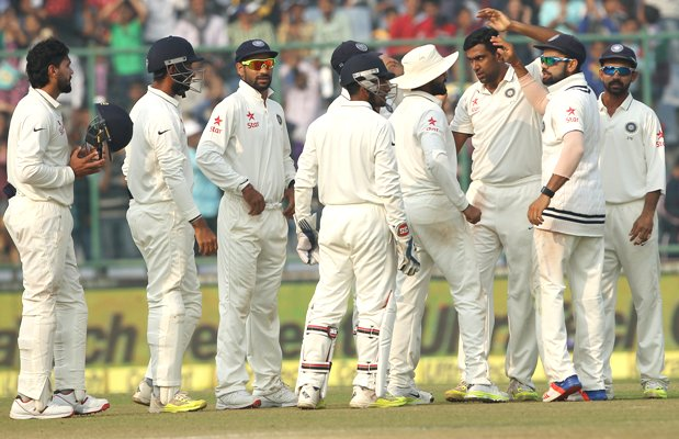 Ravichandran Ashwin of India celebrates the wicket of Temba Bavuma