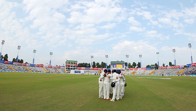 India team huddle during day one in Mohali