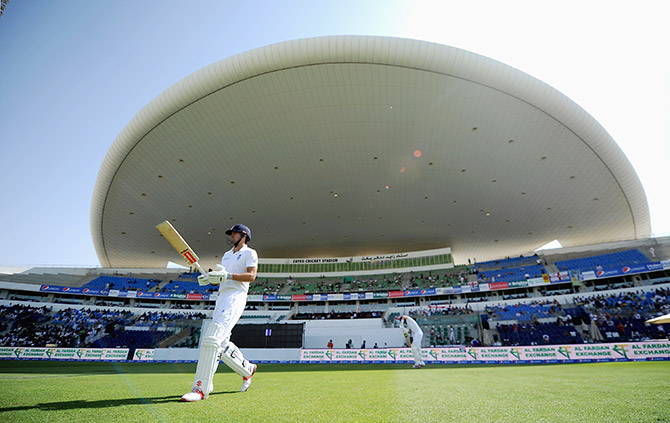 England's Alastair Cook at the Zayed Cricket Stadium in Abu Dhabi