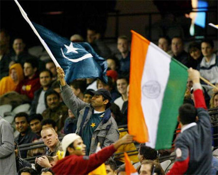 India and Pakistan supporters in the stadium