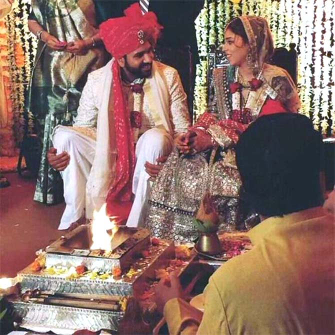 Rohit Sharma and Ritika Sajdeh got married in Mumbai on Sunday