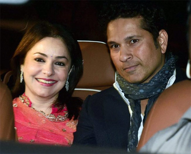 Sachin Tendulkar and wife Anjali attend the wedding