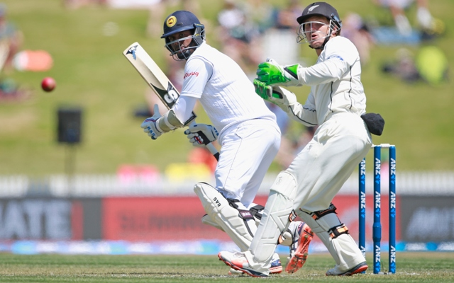 Angelo Mathews of Sri Lanka bats during Day One of the Second Test in Hamilton