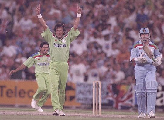 Pakistan captain Imran Khan celebrates winning the 1992 World Cup after defeating England