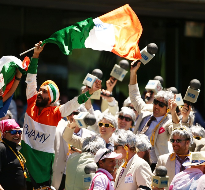 Indian fans enjoy the action