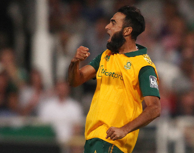 Imran Tahir of South Africa celebrates