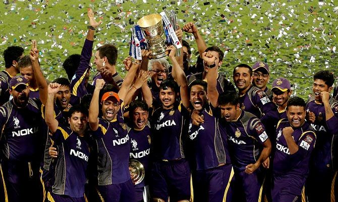 The Kolkata Knight Riders team celebrates after winning the seventh edition of the IPL